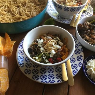 Pasta con Verduras Asadas y Proteína