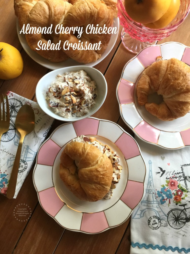 A delightful almond cherry chicken salad croissant made with canned chicken white meat, dried cherries, toasted almonds, honey, sour cream, mayo and spices