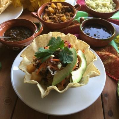 Mexican Turkey Picadillo Tostada Bowl