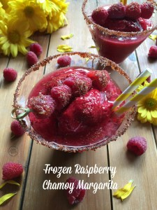 Frozen Raspberry Chamoy Margarita made with fresh and frozen raspberries, orange juice, honey, chamoy and tequila