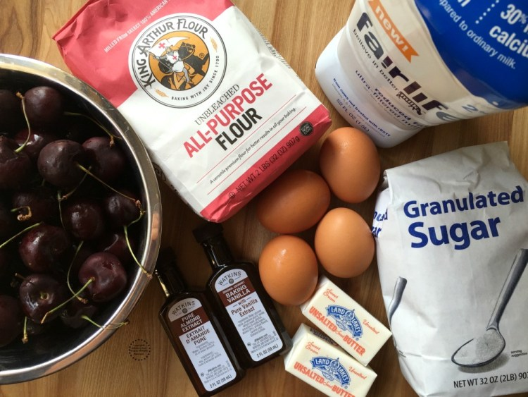 Ingredients for the French Clafoutis Black Cherry dessert
