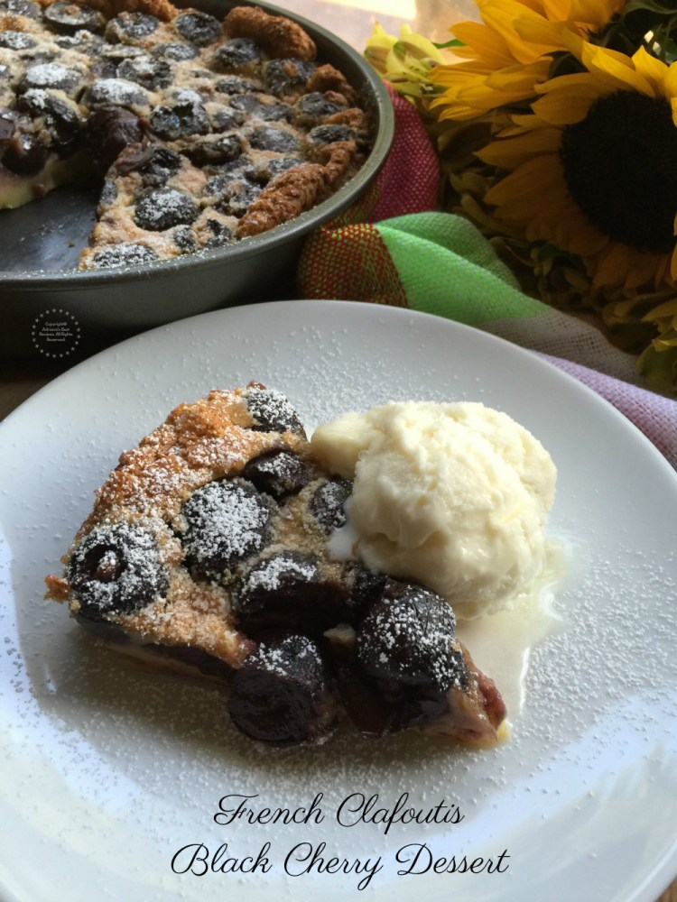 The French Clafoutis Black Cherry dessert is a traditional recipe that was born in the Limousin region of France where there is a bounty of black cherries