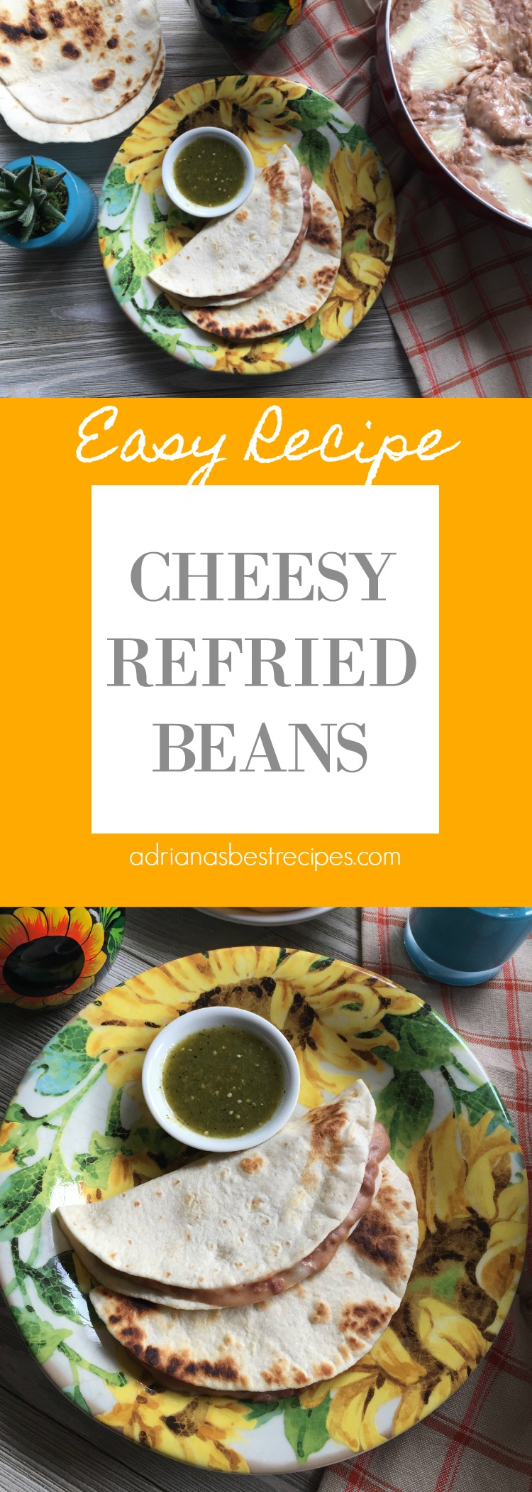 Cheesy refried beans made with Oaxaca cheese and homemade pinto beans or bayos