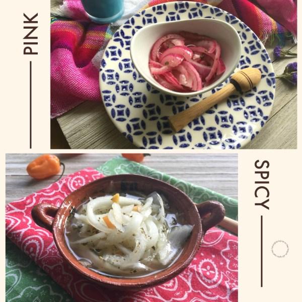 Cebollas en Escabeche Estilo Mexicano rosadas o picantes
