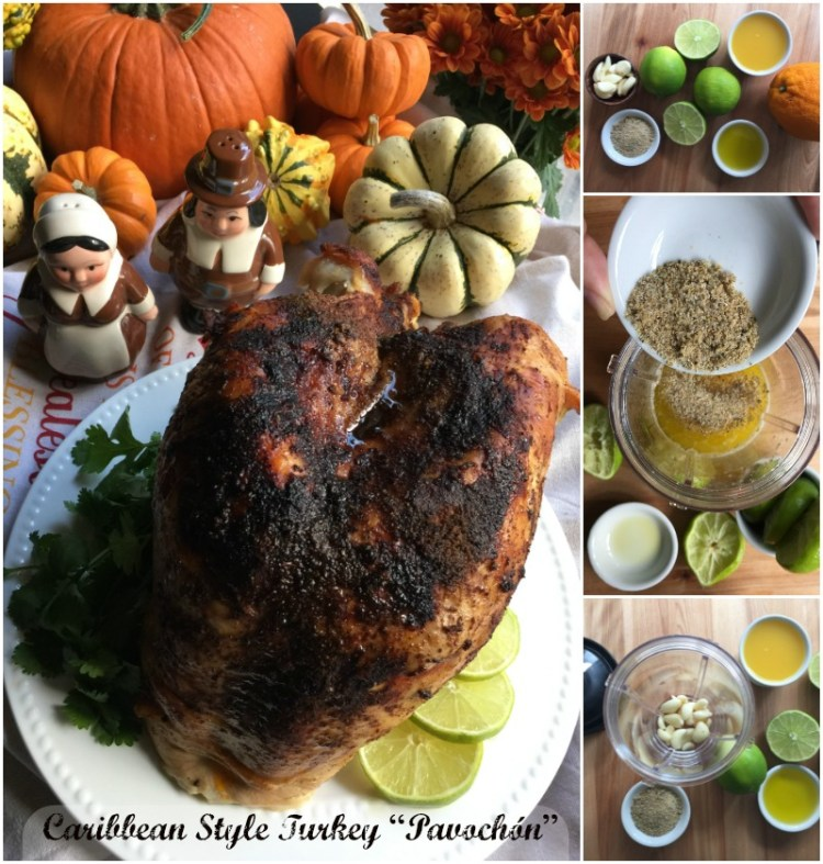 Latino style turkey or Pavochón is what is for dinner this Thanksgiving at the Martin's family table. Made with citrus juices, sazón latino, garlic, olive oil, paprika and butter