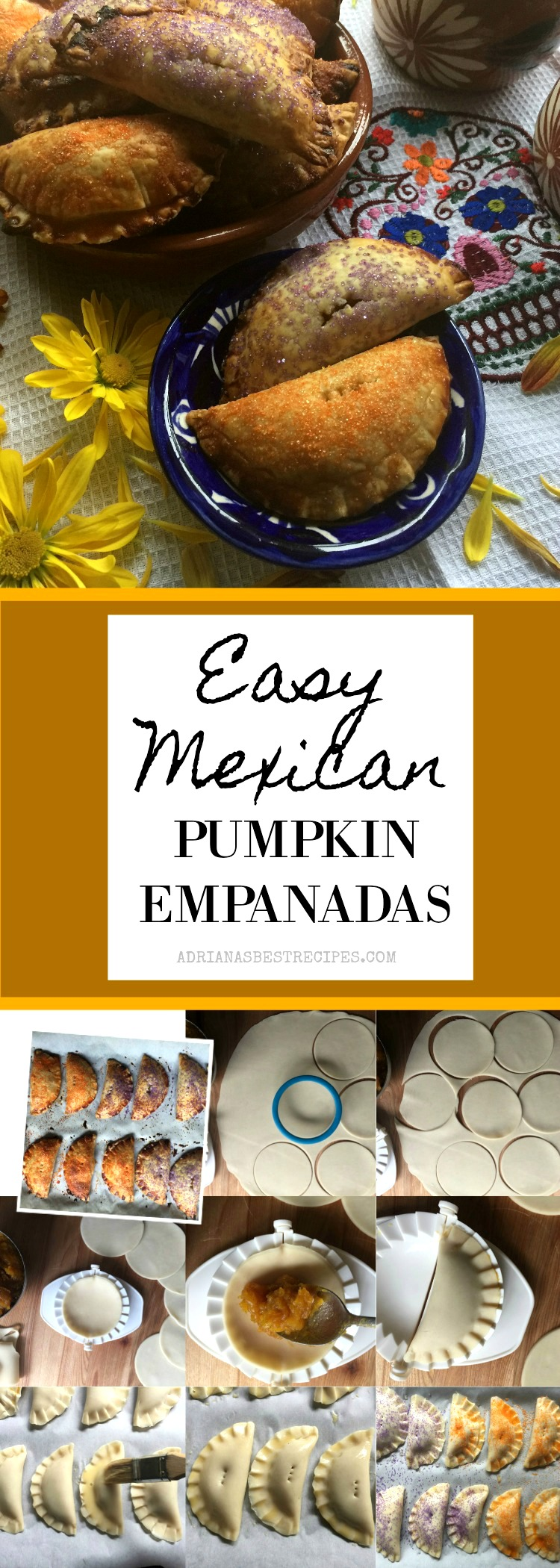 Mexican Pumpkin Empanadas made easy using homemade candied pumpkin puree and ready made pie dough. Perfect addition to Day of the Dead menu