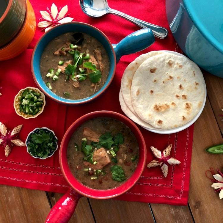 Serving the Sonora Pork Stew with Homemade Flour Tortillas
