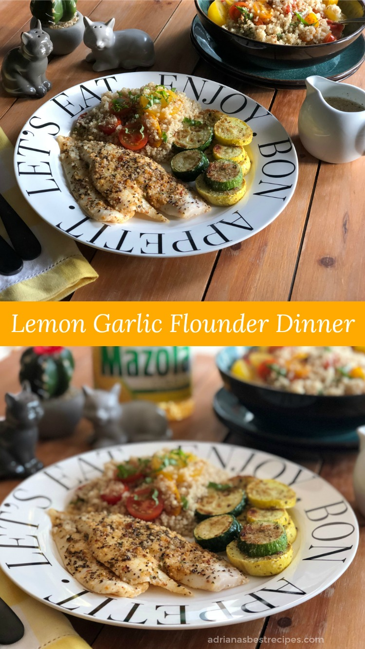 A Lemon Garlic Flounder paired with Basil Tomato Quinoa Salad and Roasted Zucchini