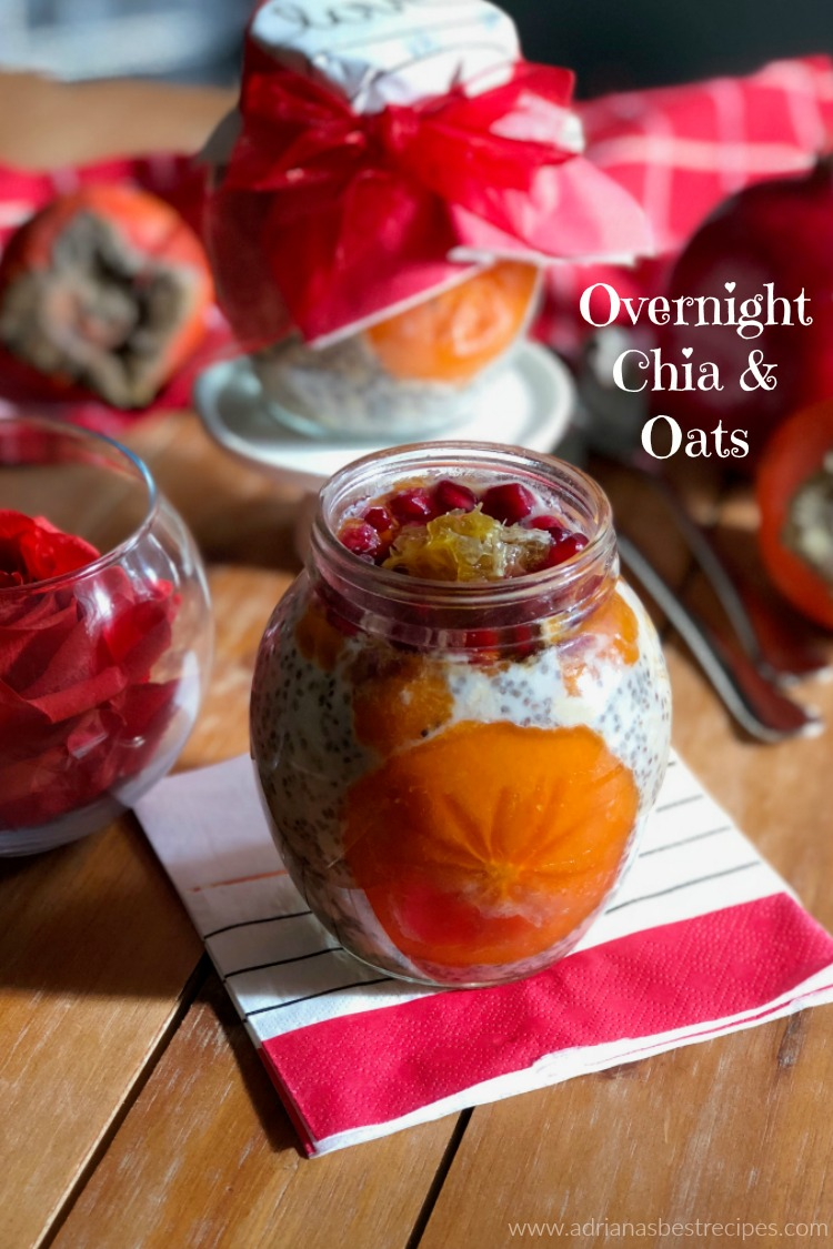A delightful overnight chia and oats paired with pomegranate jewels and persimmon