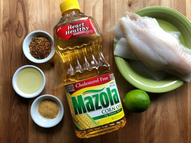 Ingredients for making the lemon garlic flounder