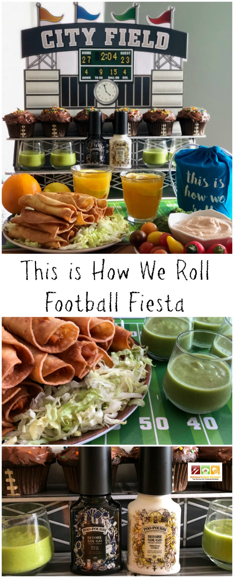 Learn how we roll when organizing a football fiesta at home. Suggesting crispy chicken taquitos, guacamole sauce, pinto bean hummus, sparkly orangeade, and chocolate cupcakes.