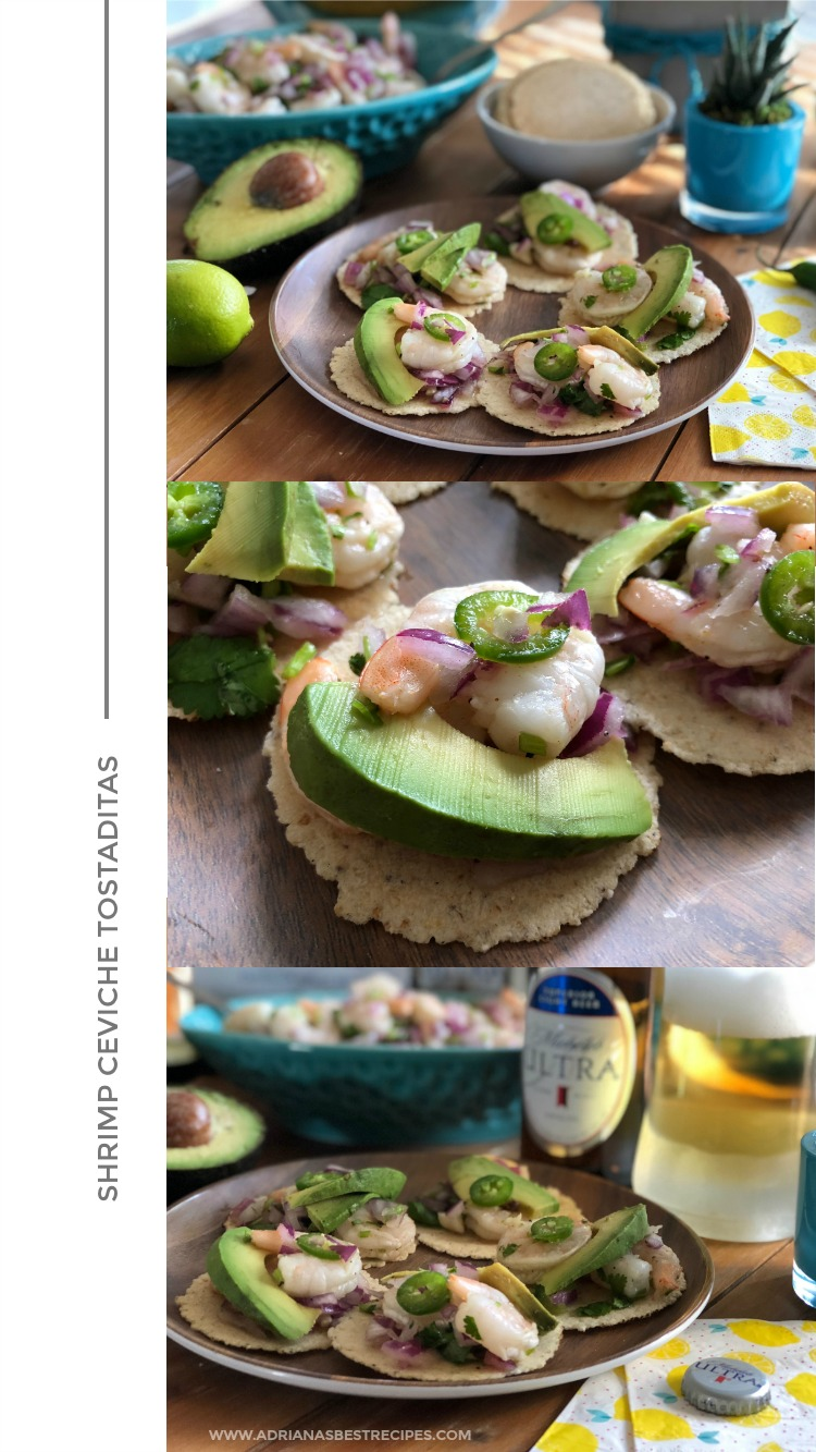 Shrimp ceviche tostaditas, made with cooked shrimps, purple onion, serrano peppers, cilantro, lime juice and spices