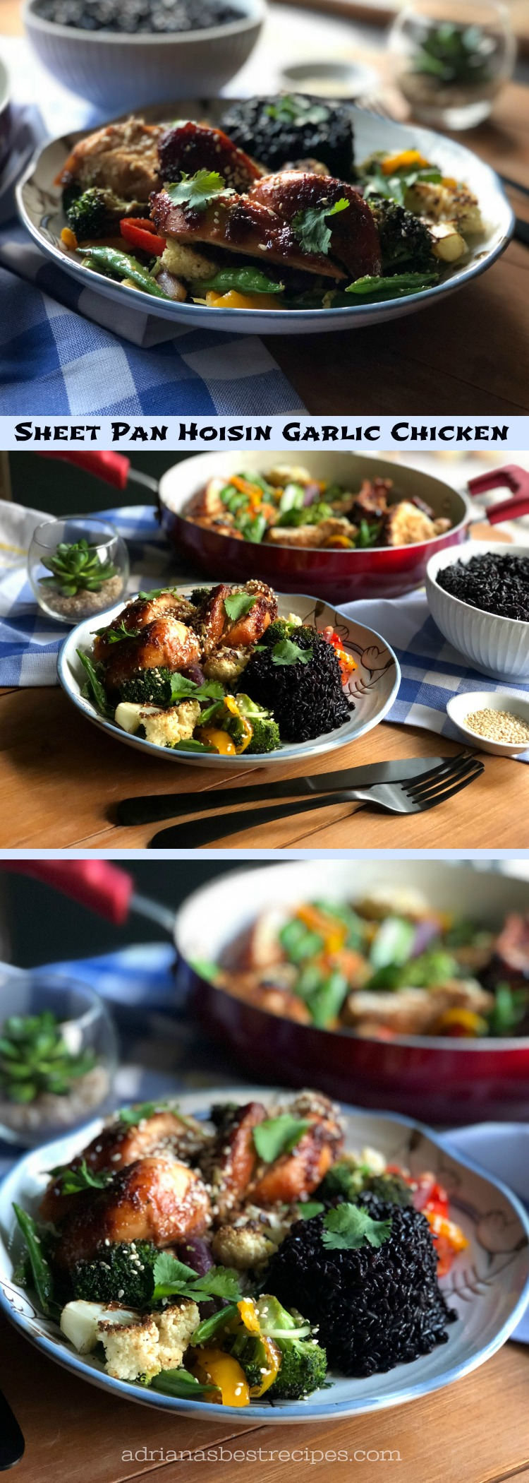 A sheet pan hoisin garlic chicken and veggies is my suggestion for celebrating this year's Chinese New Year, the year of the dog. This is a very simple dish made with chicken breasts and loaded with veggies. Served with delightful black rice.