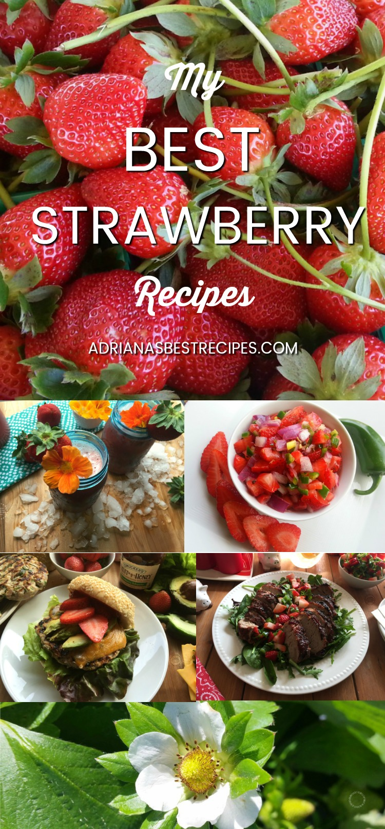 Fall in love with Florida strawberries enjoying my best strawberry recipes up to date. Including strawberry chia agua fresca, strawberry salsa and chips, strawberry jalapeño turkey burger, strawberry jalapeño pork loin and a 3 ingredient no churn strawberry milk ice cream.