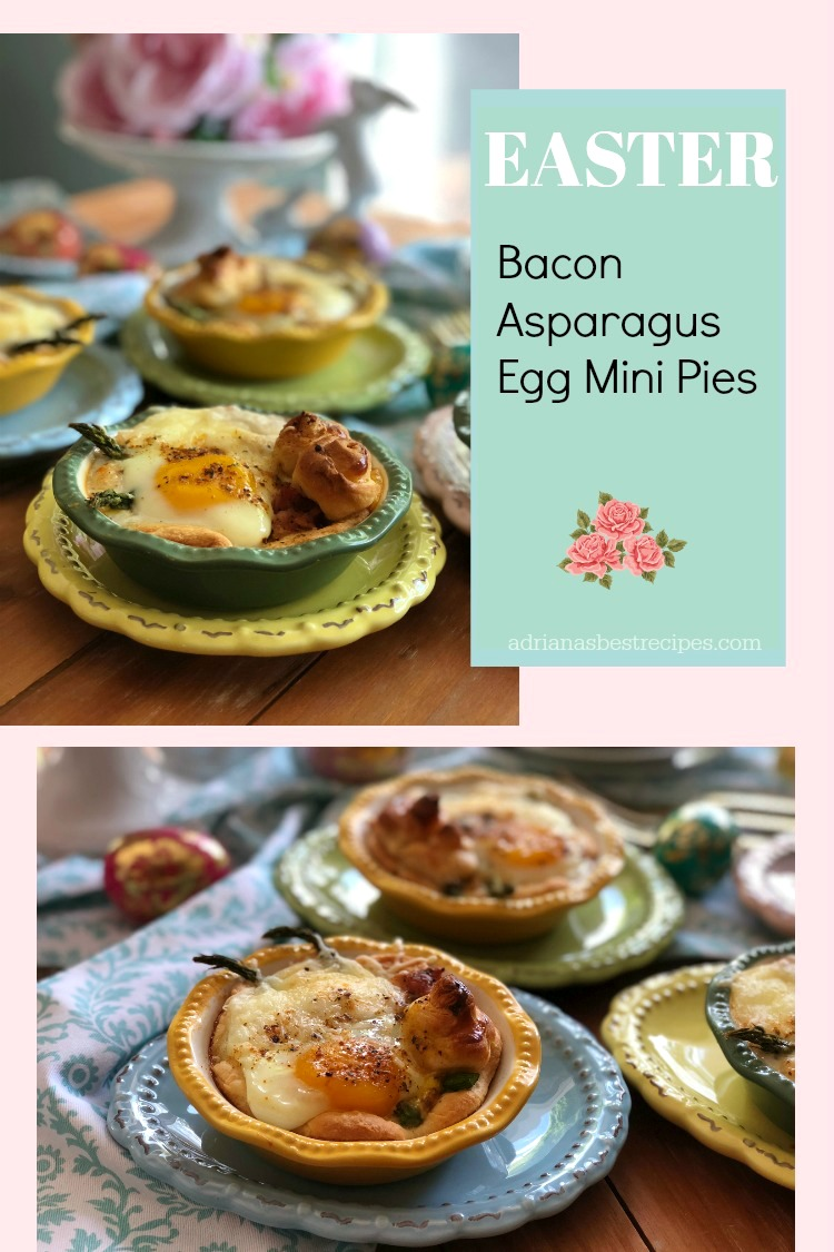 Thebacon asparagus egg mini pies are a very nice option for upcoming springtime brunches with the family