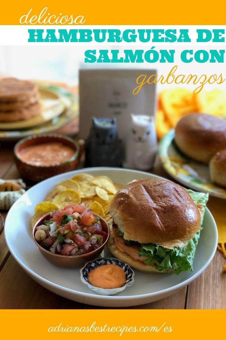 Deliciosa hamburguesa de salmon con garbanzos