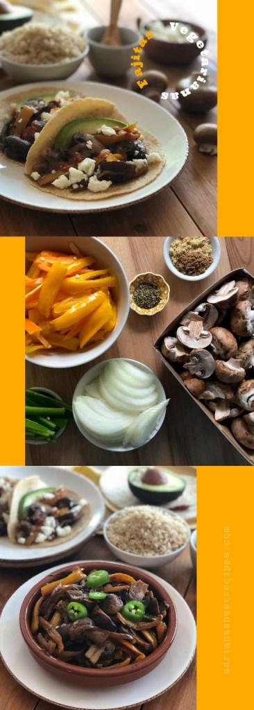 Ricas fajitas vegetarianas con hongos Floridanos. Una receta apta para el menú de la Cuaresma, los lunes sin carne y el martes de tacos