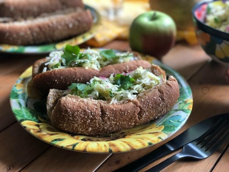 A tasty vegetarian hot dogs feast
