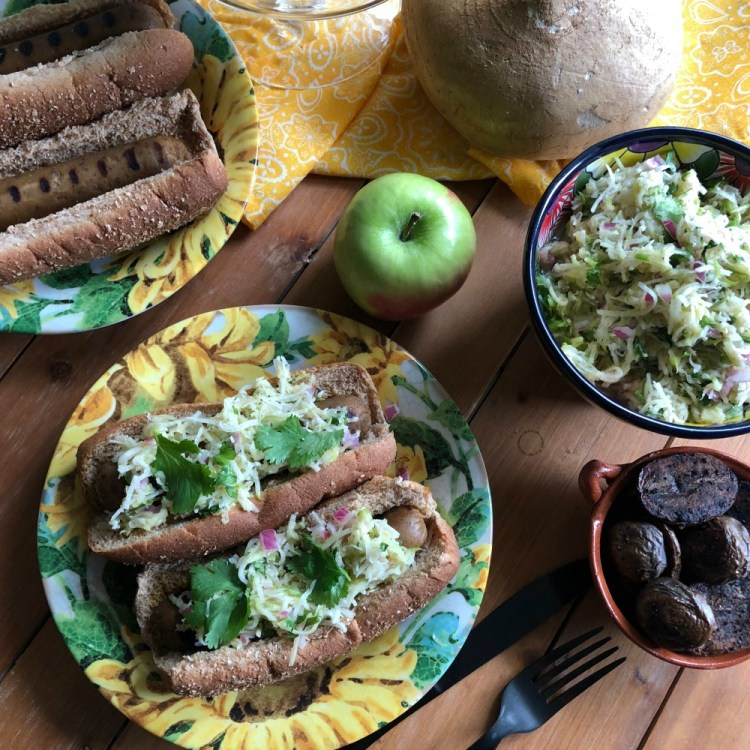 Pairing the vegetarian hot dogs with grilled purple potatoes and a green apple and jicama slaw