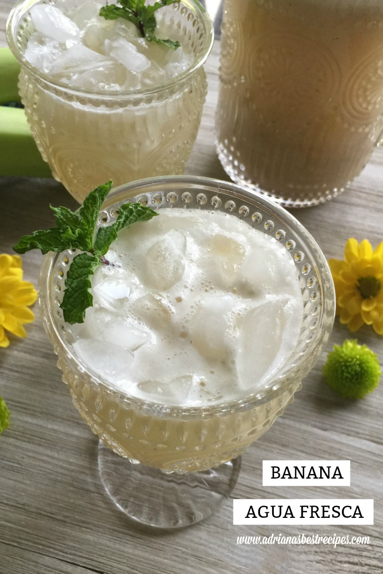 Refreshing and sweet banana agua fresca made with ripen bananas, turbinado sugar, fresh mint and purified water