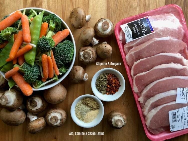 Ingredientes para las chuletas de cerdo a la parrilla