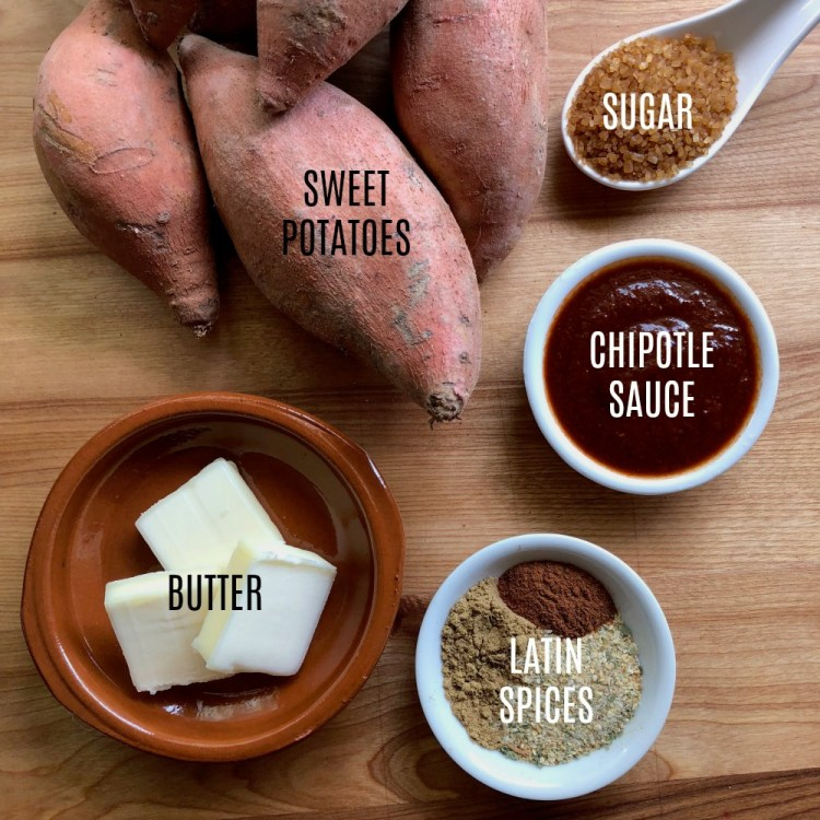 Ingredients for making the best chipotle butter sweet potatoes
