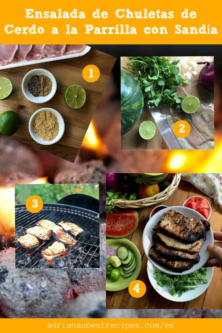 Mostramos los cuatro pasos de cómo las chuletas de cerdo en la parrilla. Una opción sabrosa para el menú del verano.