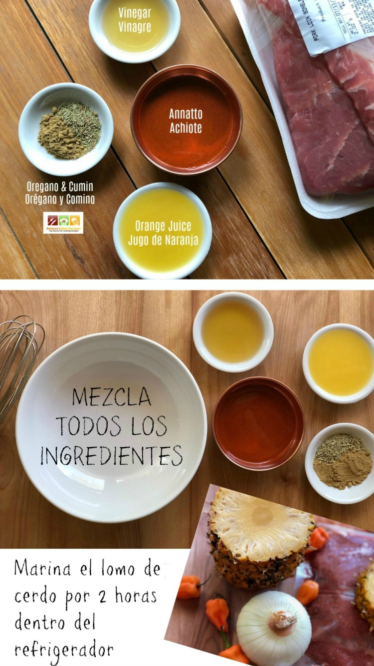 Instrucciones para hacer la marinada para los tacos de lomo de cerdo al pastor