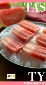Tasty watermelon lemonade ice pops or paletas