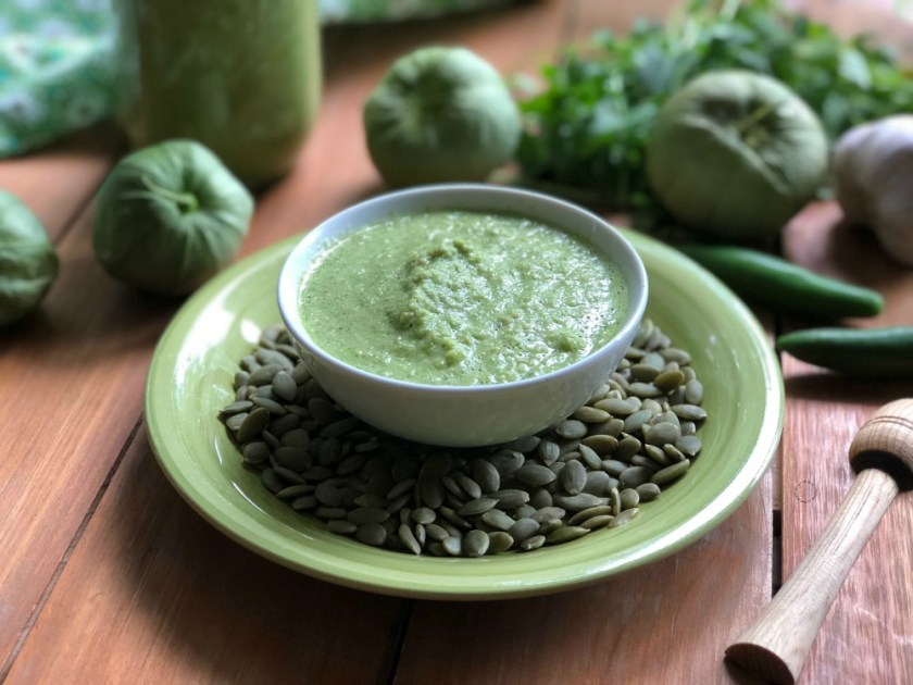 Auténtica Salsa Verde de Pepitas de Calabaza