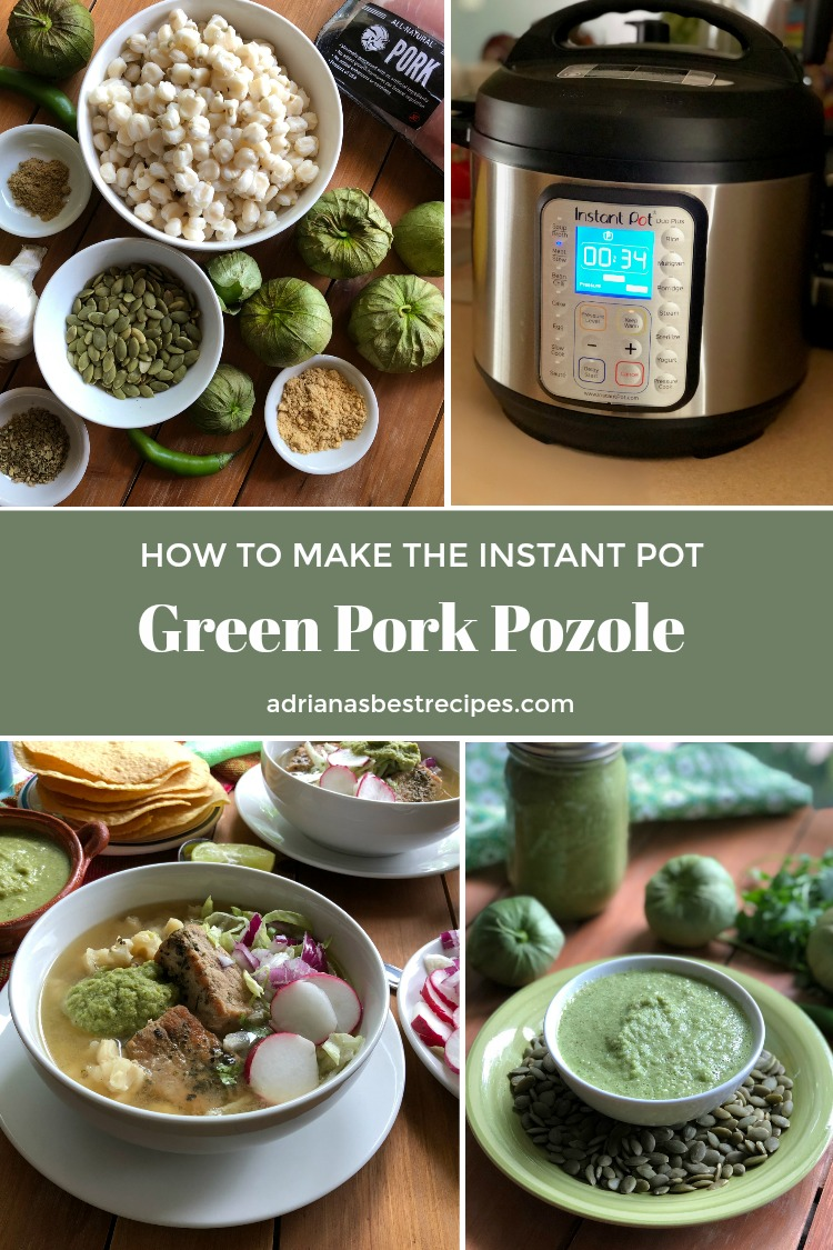 Inspired by the Green Pork Pozole, I've created an updated version by cooking the Green Pork Pozole in the Instant Pot. I used a pork loin (cut into chunks), canned pre-cooked hominy, bay leaves, oregano, cumin, chicken broth, and chicken bouillon. The green sauce has toasted pumpkin pepitas, garlic, grilled tomatillos, serrano peppers, and cilantro.