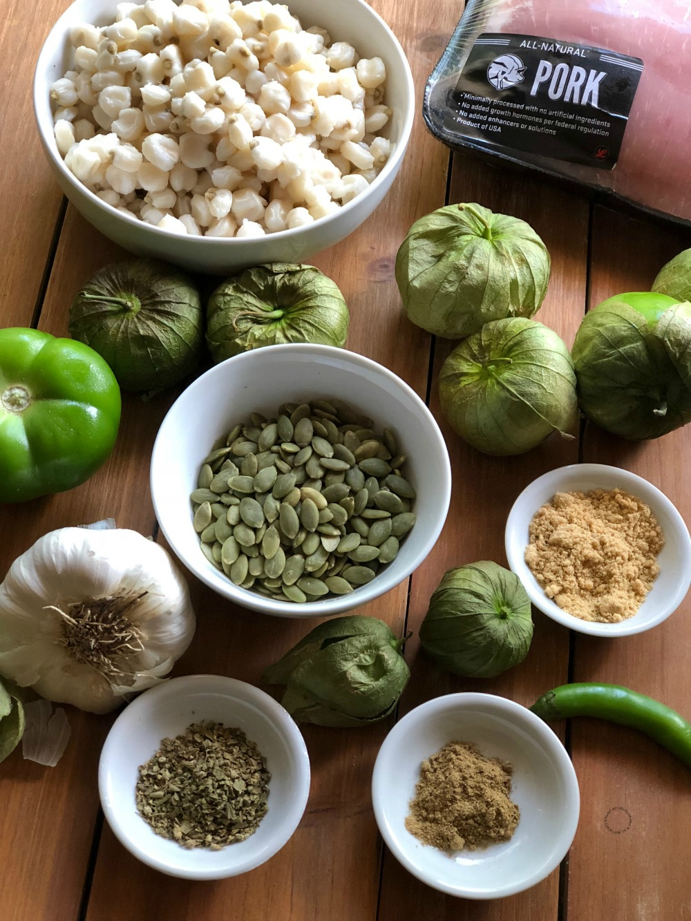 Ingredients for the Instant Pot Green Pork Pozole Recipe