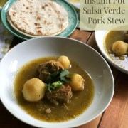 The Instant Pot Salsa Verde Pork Stew is a homey dish full of flavor
