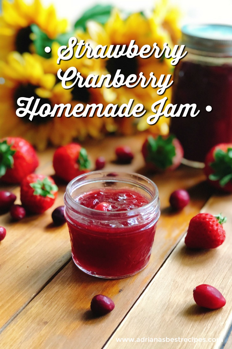 A Strawberry Cranberry Homemade Jam or also called Christmas Jam, perfect for the holiday season. Made with fresh organic strawberries and cranberries, plus pectin and sugar cane. #KitchenTalk #GourmetGifts