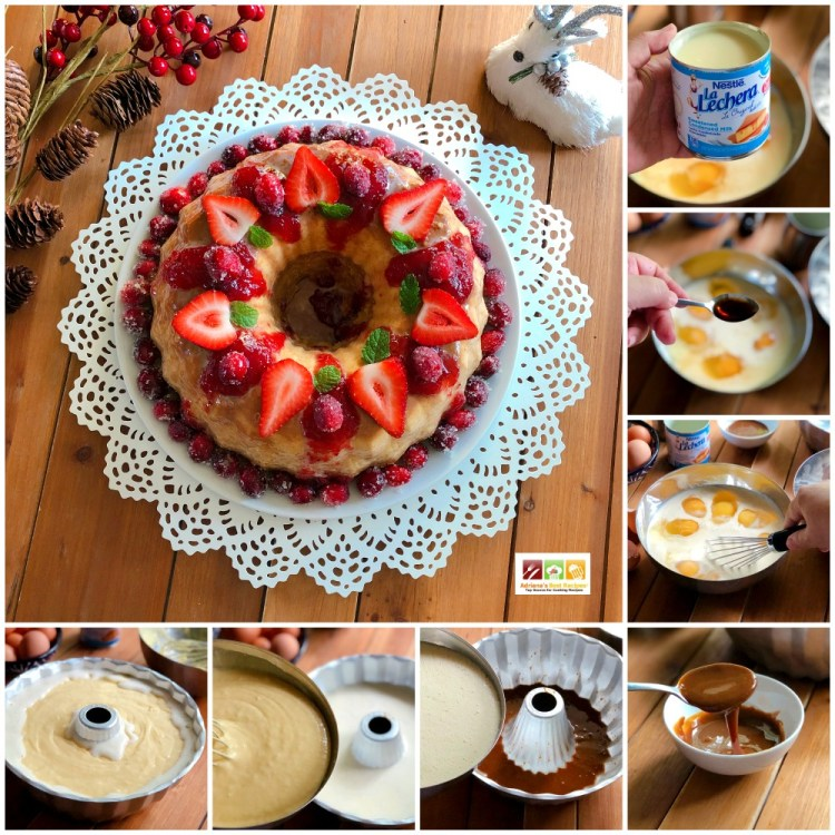 Step by step process to make the Vanilla Flan Cake