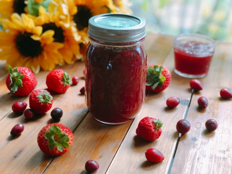The Strawberry Cranberry Homemade Jam is perfect for canning