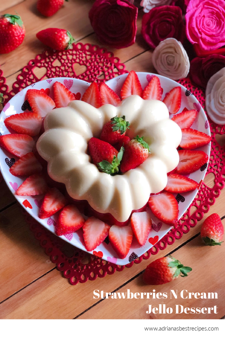 Make the Strawberries N Cream jello dessert for Valentine's Day festivities. It is a classic family recipe using condensed milk and fresh strawberries. #mexicandesserts #valentinesday