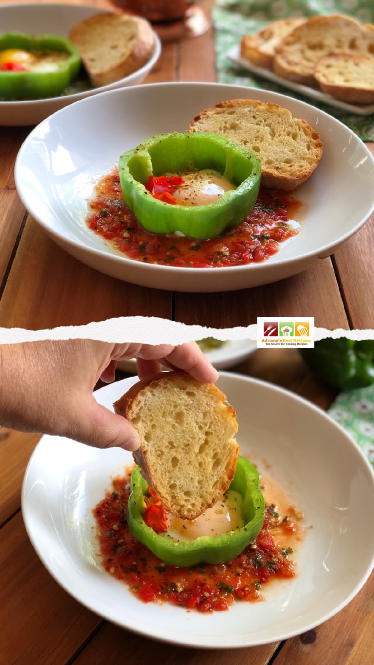 Acompaña los pimientos con huevo con pan tostado con mantequilla