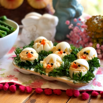 This is the recipe for the deviled peeps perfect addition to the Easter menu