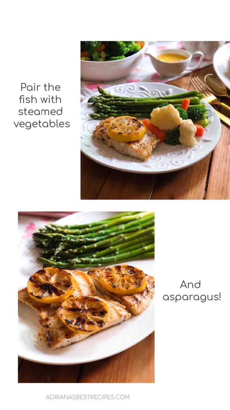 This grilled snapper is a tasty meal and pairs well with steamed vegetables of your choice and asparagus.