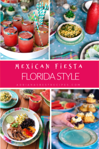 Organize a Mexican Fiesta Florida style this spring and summer. And choose Fresh From Florida produce when planning your party menu. We made watermelon juice, a grilled chicken bowl with roasted Florida bell peppers, and garnished with Florida sweet corn salsa, and pico de gallo. For dessert, we served blueberry lemon tiny cupcakes.