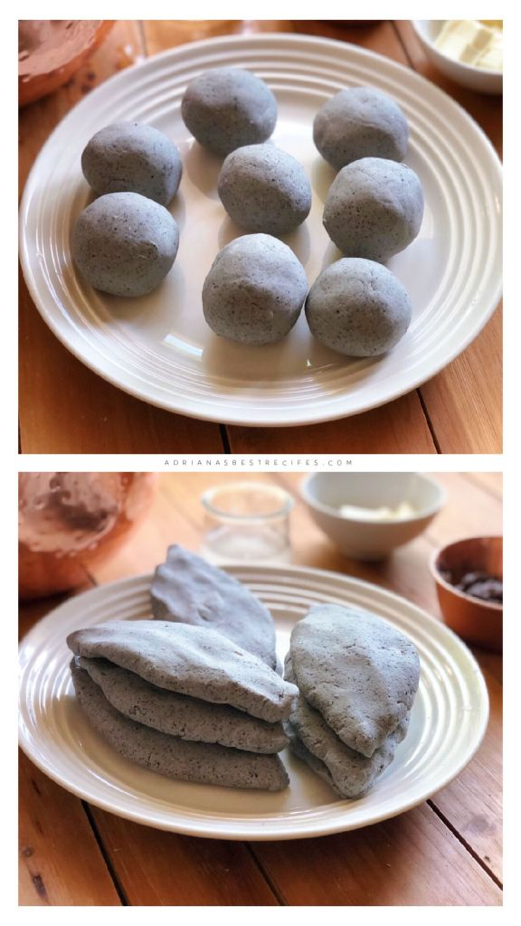 The masa is formed into small balls and then into a diamond form to create the tlacoyo