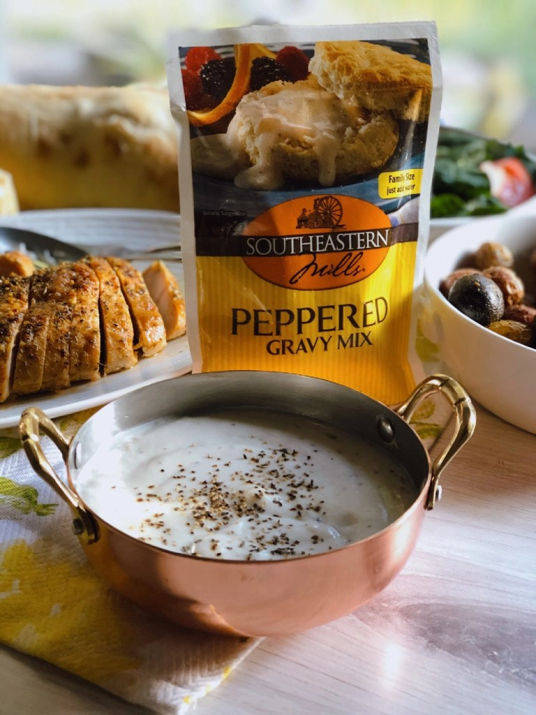 Southeastern Mills Peppered Gravy Mix to pair with the peppered turkey tenderloin and the roasted potatoes
