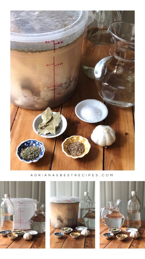 Showing how to brine turkey at home using water, vinegar, cumin, oregano, bay leafs, and salt. Brining allows the turkey to be juicy.