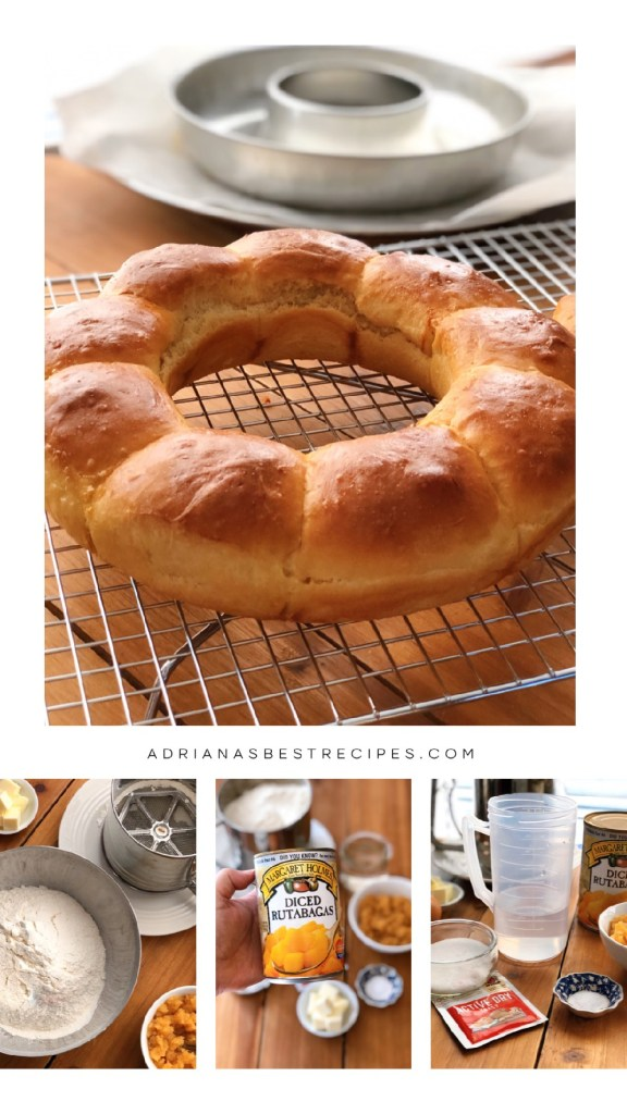 Soft rutabagas dinner rolls formed into a wreath and placed in a rack before serving.