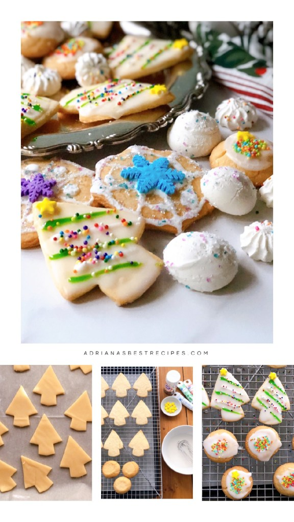 This is the step by step to making the Christmas cookies using sugar motifs and glaze