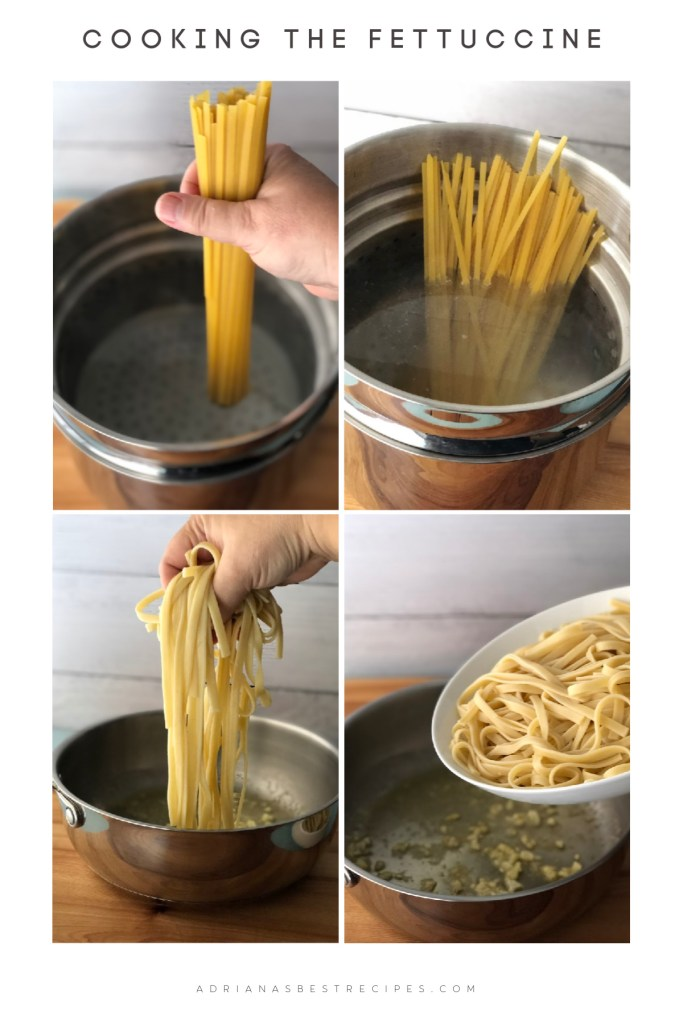 The process for cooking the fettuccine includes using boiling water, a pasta pot with a strainer, and salt.