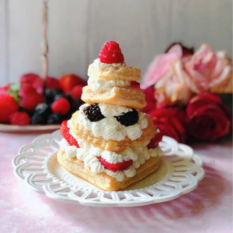 Let's eat a Mixed Berries Mille-Feuille made with layers of puff pastry, berries and with whipped cream