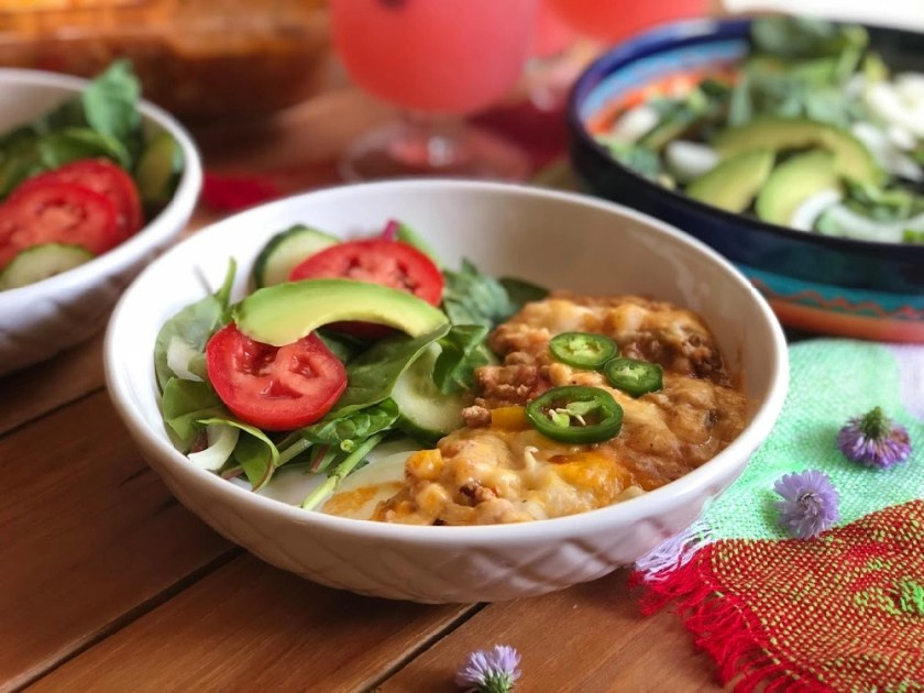This is the Mexican Inspired Shepherds Pie served with an avocado salad