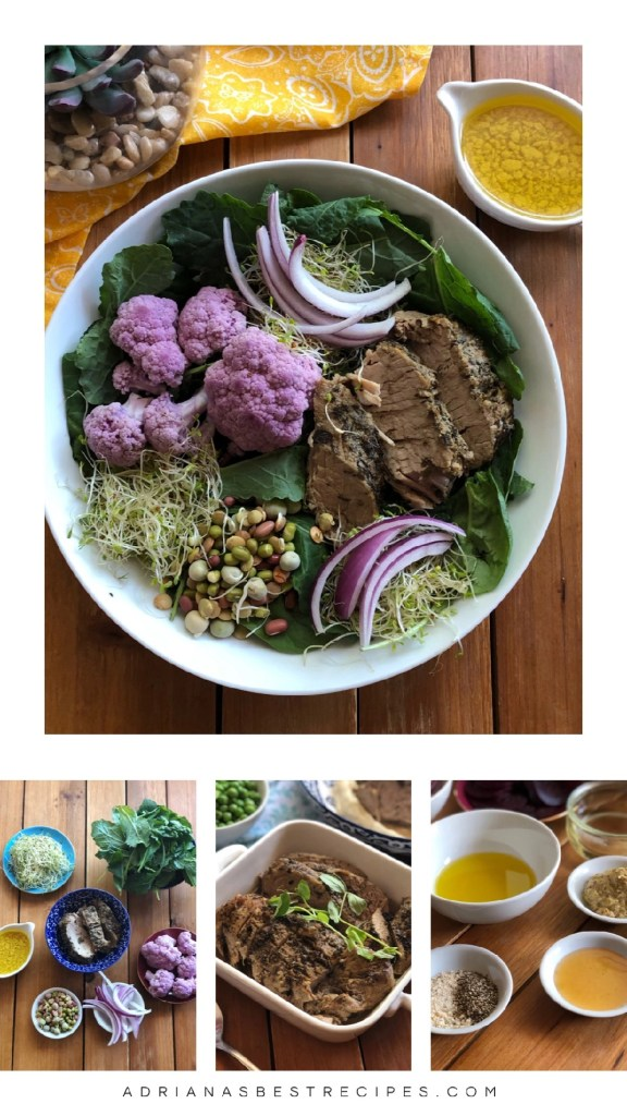 Sliced Pork Tenderloin Salad with purple cauliflower, sprout nests, purple onions, sprouted grains, and baby kale. Served with a homemade honey mustard dressing.